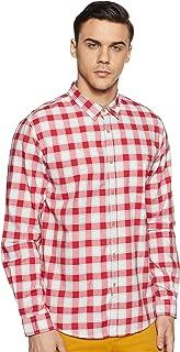 CHEROKEE Men's Checkered Regular fit Casual Shirt (400020223852_Red L)