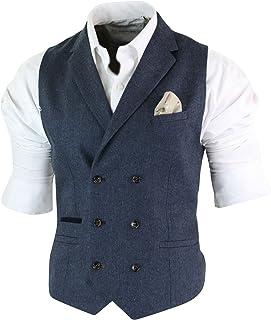Mens Herringbone Tweed Gatsby Peaky Blinders Classic Double Breasted Waistcoat