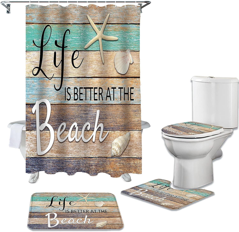 DaringOne Beach 4 Pieces Max 69% OFF Popular Shower Bathroom w Curtain Set Supplies