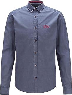 BOSS Hommes BIADO R Chemise Regular Fit en Popeline de Coton Stretch, avec col à Pointes boutonnées