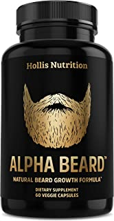 ALPHA BEARD Beard & Hair Growth Vitamins for Men - Beard Growth Supplement with Biotin, Collagen, MCT Oil, MSM, Aloe, B-Complex and more for Fuller, Healthier and More Manlier Beard & Hair - 60 Caps