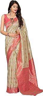 MANOHARI Women's Banarasi Silk Woven Jacquard Saree with blouse Piece ( Off White )