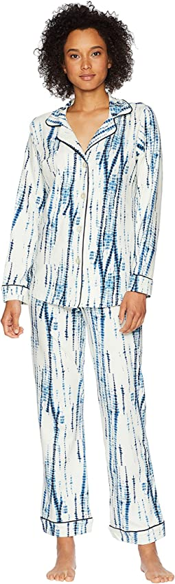 Indigo Dye Long Sleeve Shorts Pajama Set