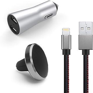 Kit 3-em-1 Veicular, Suporte Magnético, Carregador, Cabo Lightning para iPhone, Geonav, PLI31, Preto-Cinza Alumínio