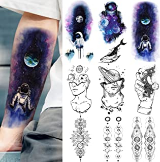 VANTATY 9 Sheets Blue Watercolor Astronaut Temporary Tattoos For Kids Child Outer Space Man Fake Body Art Forearm Tattoos Stickers Thinker Geometric Planets Women Large Arm Tatoo Black Star