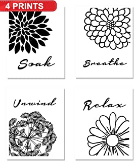 Bath Flowers Wall Art Decor (4-Set) | Relax, Soak, Unwind, Breathe | Black & White Unframed Home Artwork Prints | Great Gift for Bathrooms (8x10) | Meditation Inspirational Sayings Signs Posters