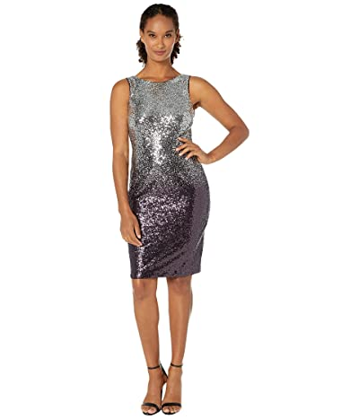 Calvin Klein Sequin Sheath Dress (Silver/Aubergine) Women