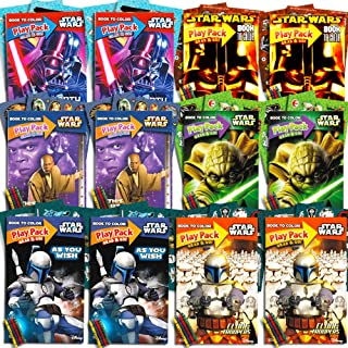 Star Wars Party Favors Set -- 12 Jumbo Star Wars Play Packs Filled with Coloring Books, Crayons and Stickers (Classic Trilogy)