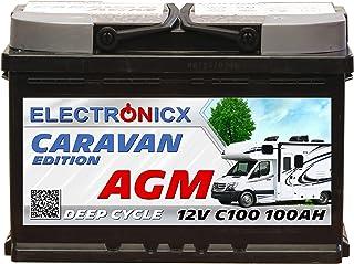 Electronicx Caravan Edition V2 batteri AGM 100 AH 12 V husbil båt försörjning