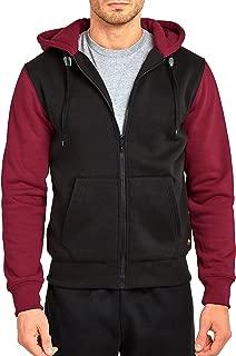 Men's Two-Tone Long Sleeve Zip Up Kangaroo Pocket Hoodie