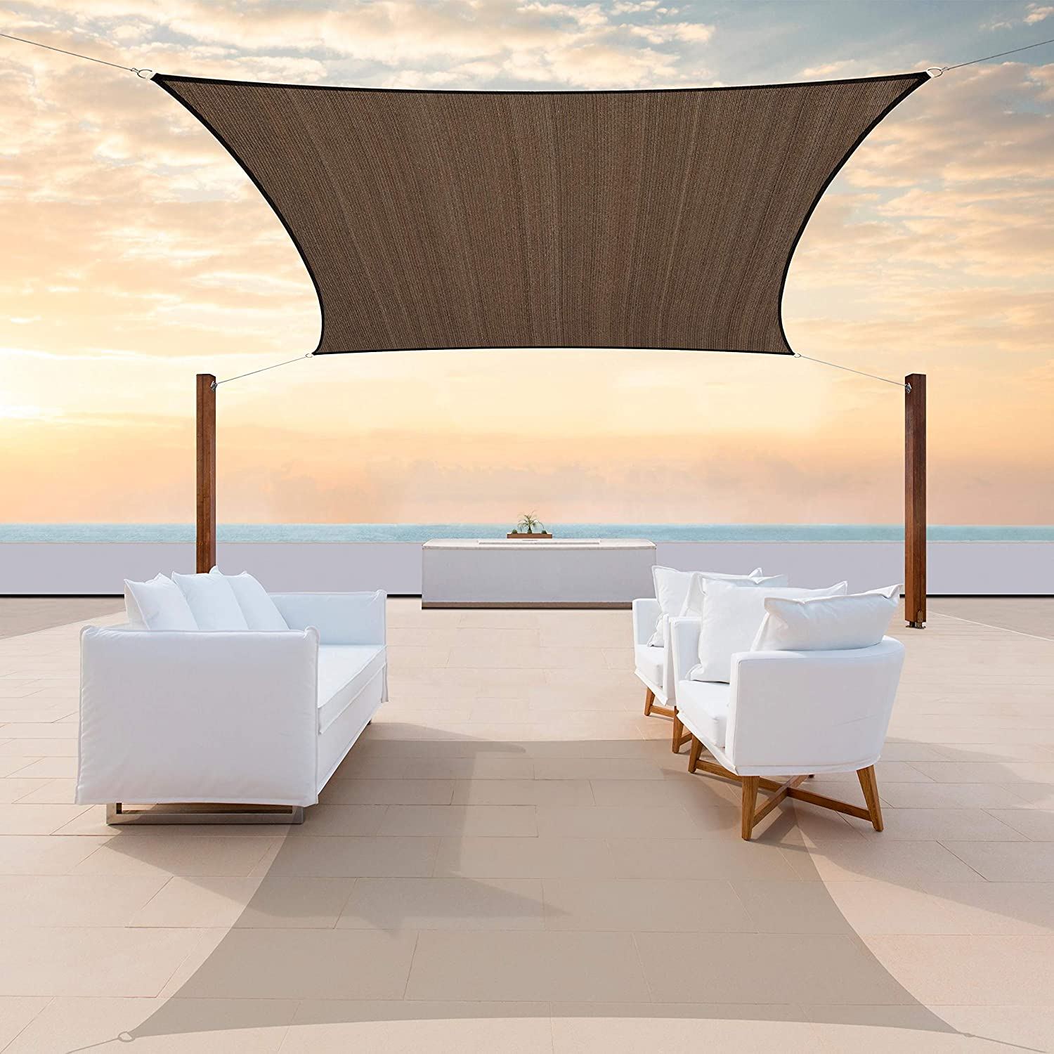 ColourTree 8' x 10' Brown Sail Rectangle National products Sacramento Mall CTAPRN8-190GS Sun Shade