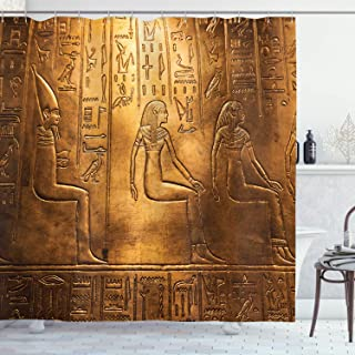 Ambesonne Egyptian Decor Collection, Egyptian Hieroglyphics Old Texts Logographic and Alphabetic Elements Design Print, Polyester Fabric Bathroom Shower Curtain, Gold