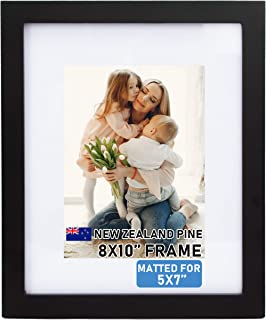 Beyond Your Thoughts Wood + Real Glass (Hang/Stand) 8X10 Black Picture Photo Frame with Matted for 5X7 Photo for Wall and Table Top (1 Pack)