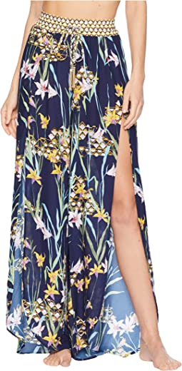 Fiji Floral Mix Split-Leg Beach Pant Cover-Up