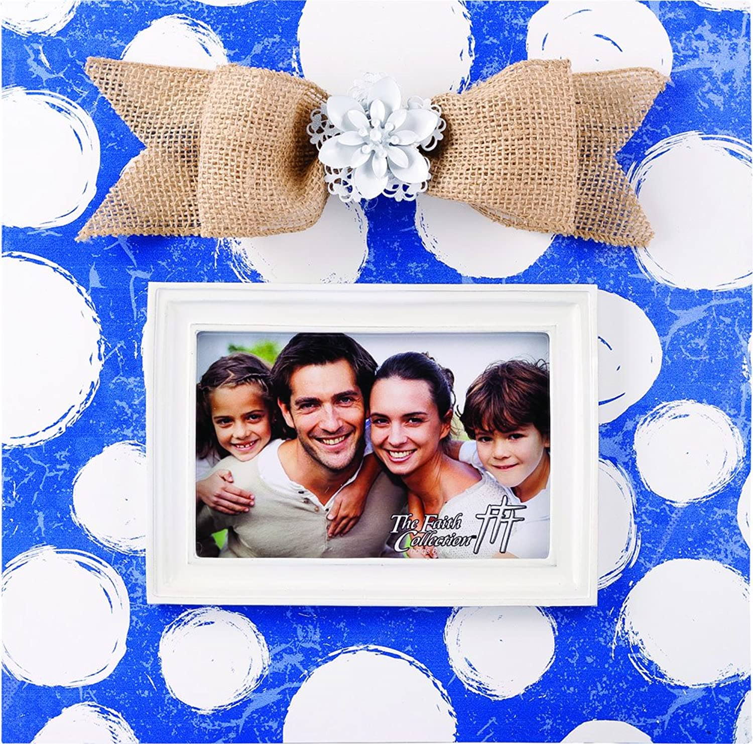 The Faith Collection Large Cobalt bluee Frame with White Flower, 6x 4