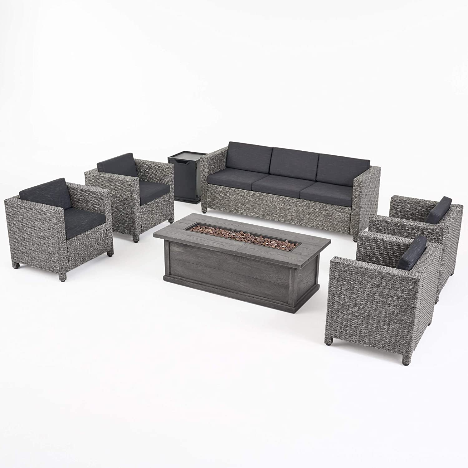 Great Deal Furniture Simona Outdoor 7 Seater Wicker Chat Set with Fire Pit, Mix Black and Dark Gray
