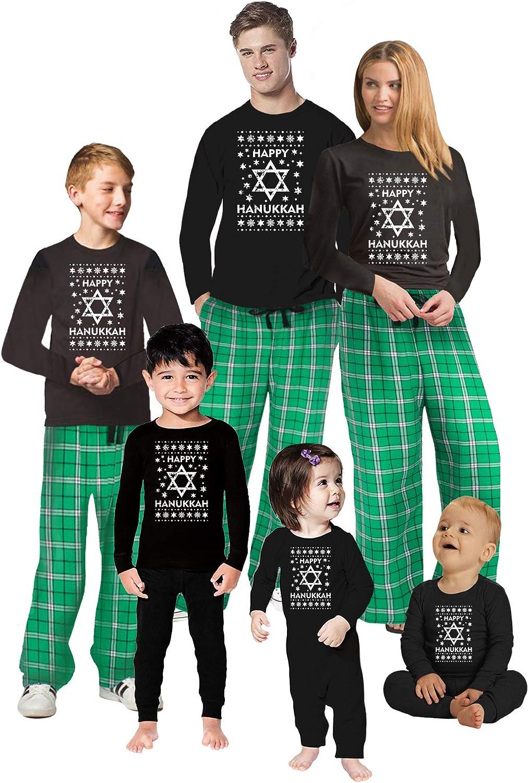 Awkward Styles Family Christmas Pajamas Set Green Hanukkah Matching Sleepwear