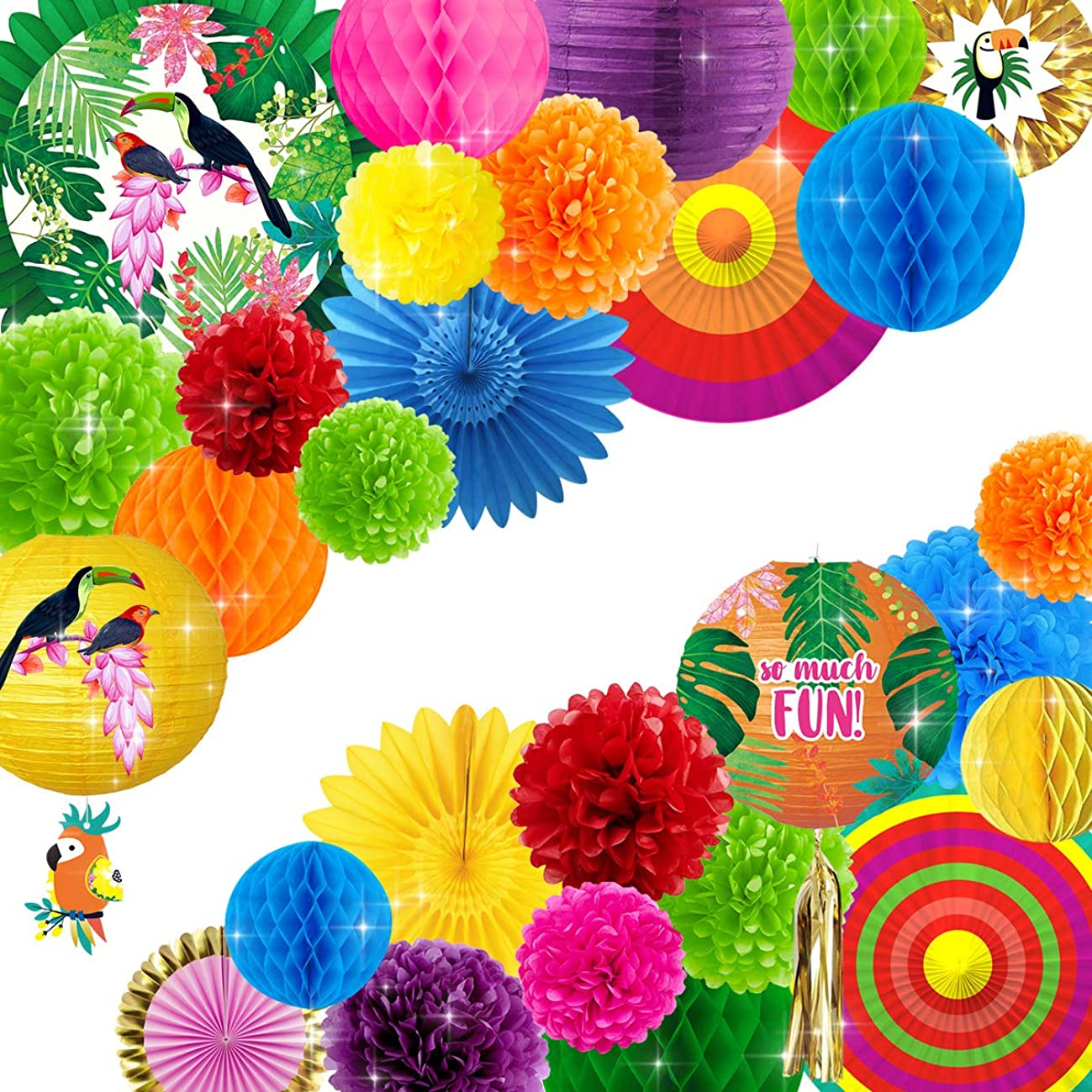 NICROLANDEE 28PCS Fiesta Party Decor, Summer Tropical Parrot Set Mexican Style Party Decor with Rainbow Tissue Pom poms Lantern and Fan for Wedding Bridal Shower Baby Shower Birthday Anniversary Party