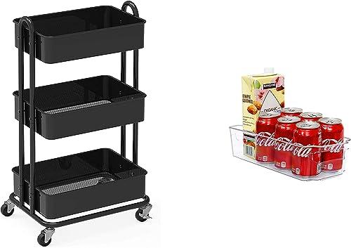 lowest SimpleHouseware Heavy Duty 3-Tier Metal outlet sale Utility 2021 Rolling Cart + Plastic Organizer Bin outlet sale