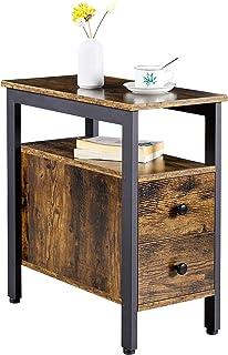 Yaheetech Table d'appoint, Bout de canapé, Table Console, 2 Tiroirs, 2 Niveaux, Style Industriel, en Bois et Métal, Hauteu...