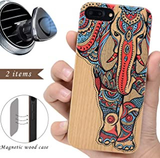 iProductsUS Elephant Phone Case Compatible with iPhone 8Plus, 7Plus, 6Plus, 6s Plus and Magnetic Mount-3D UV Printed Colorful Elephant Wood Cases,Built-in Metal Plate,TPU Protective Covers (5.5