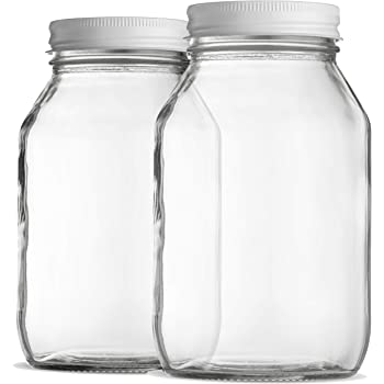 Glass Mason Jars 32 Ounce 1 Quart Regular Mouth, Metal Airtight Lid, USDA Approved Dishwasher Safe USA Made Pickling, Preserving, Canning Jar, Dry Food Storage, Craft Storage, Decorating Jar (2 Pack)