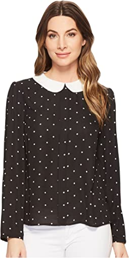 Polka Dot Collared Blouse