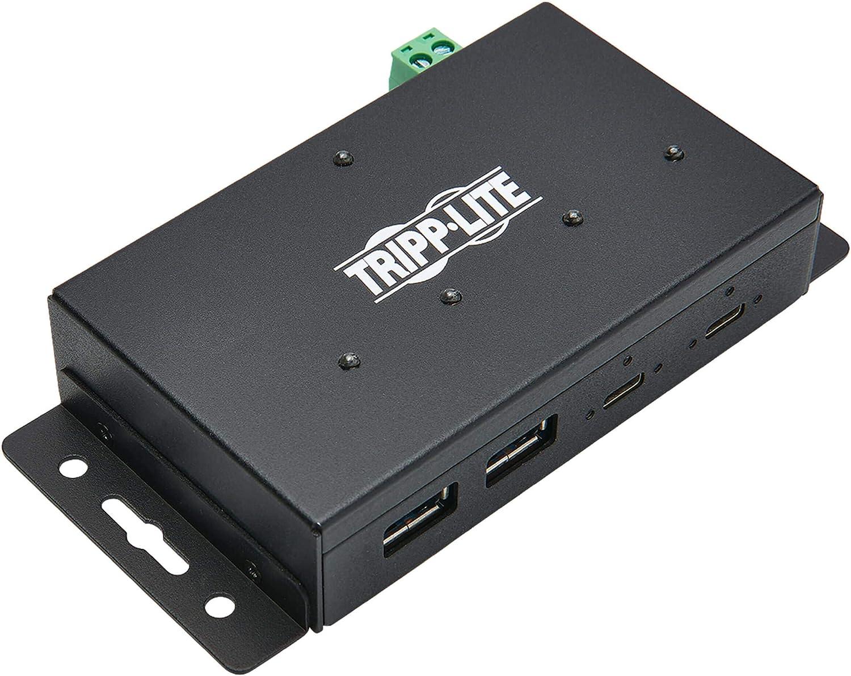 Tripp Lite 4 Port USB Hub, Industrial USB Hub, USB 3.1 Hub, Gen 2, 10 Gbps, 2 USB C, 2 USB A, 15 Kv ESD Protection, Iron Housing (U460-2A2C-Ind)
