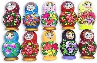 Azhna Lot 10 pcs Surprize Design Flower Style Handpainted Wooden Matryoshka Fridge Magnets 6.7 cm