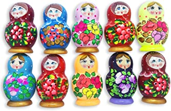 Azhna Lot 10 pcs Matryoshka Fridge Magnets Souvenir Accessories Collection Surprize Design Flower Style Handpainted Wooden...
