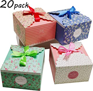 Chilly Gift Treat Boxes 20 Pack with Ribbons for Cake, Cookies, Goodies, Candy and Handmade Bath Bombs Shower Soaps Gift Boxes for Party, Christmas, Birthdays, Holidays, Weddings (Flower Patterned)