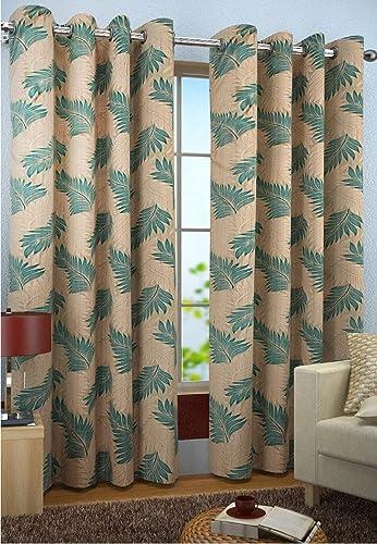 Polyresin Print Grommet Window Curtain, 5 Feet, Aqua, Pack of 1