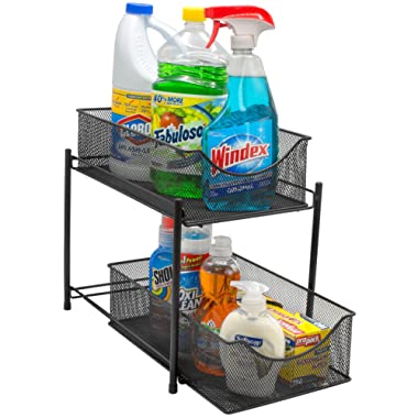 Sorbus 2 Tier Organizer Baskets with Mesh Sliding Drawers Ideal Cabinet, Countertop, Pantry, Under The Sink, and Desktop Organizer for Bathroom, Kitchen, Office, etc.Made of Steel (Black)
