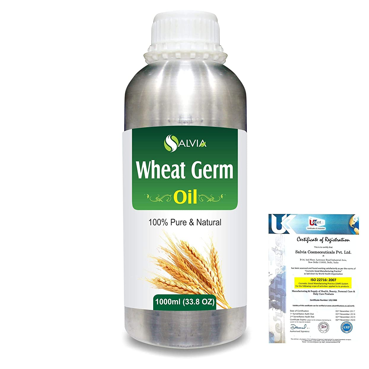 歩き回るチャームロイヤリティWheat Germ (Triticum aestivum) 100% Natural Pure Essential Oil 1000ml/33.8fl.oz.
