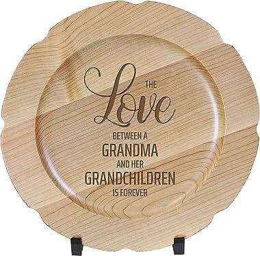 LifeSong Milestones Wooden Decorative Plate Family Keepsake 12in The Love Housewarming Home Wall Decor Kitchen Keepsake (Mapl