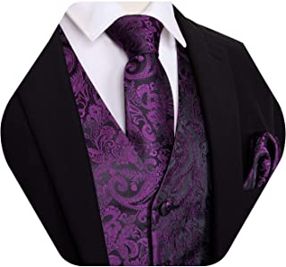 Barry.Wang Mens Formal Suit Vest Paisley Waistcoat with Necktie Pocket Square Cufflinks