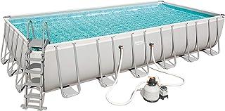 Bestway 56475Power Steel Rectangular Pool 732x 366x 132cm, Marco de Acero de Piscina Set con Filtro de Arena y Accesorios, Gris