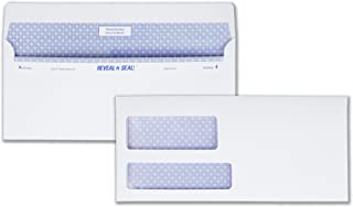 Quality Park #9 Double Window Security Tinted Invoice and Statement Envelope with Reveal-N-Seal Self Seal Closure, 24 lb White Wove, 3-7/8 x 8-7/8. 500 per Box (67529)