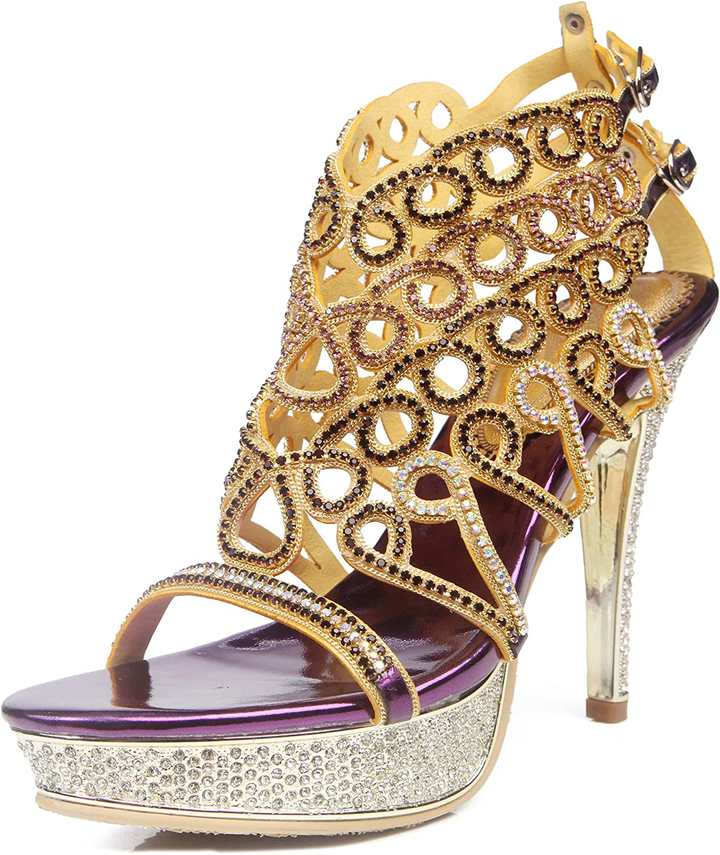YooPrettyz Diamond Studded Party Sandals Sparkle Crystal Strappy Dress Platform Sandals Women