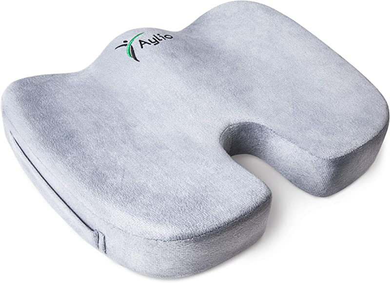 Aylio Coccyx Orthopedic Comfort Foam Seat Cushion For Lower Back Tailbone And Sciatica Pain Relief Gray