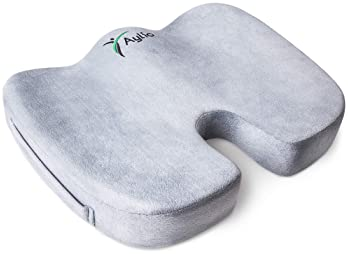 Aylio Coccyx Orthopedic Comfort Foam Seat Cushion for Lower Back, Tailbone and Sciatica Pain Relief (Gray)