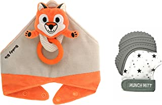 Munch Mitt The Original Mom Invented Teething Toy and 3 in 1 Buddy Bib- Self-Soothing Entertainment & Pain Relief for Baby- Ideal Mitt & Bib Combo Pack (Felix Fox/Grey Stars)
