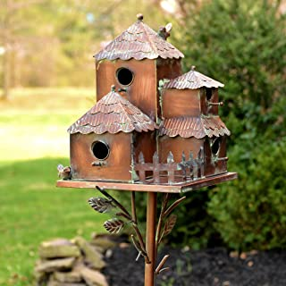 Zaer Ltd. Large Copper Colored Multi-Birdhouse Stakes, Room for 4 Bird Families in Each (Cube Homes with Pyramid Roofs)