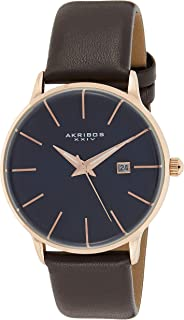 Akribos Domed Crystal Slim Classic Men's Watch - Three Hand with Date Genuine Leather Strap - Prominent Curved Sapphire Coated Crystals - AK1064