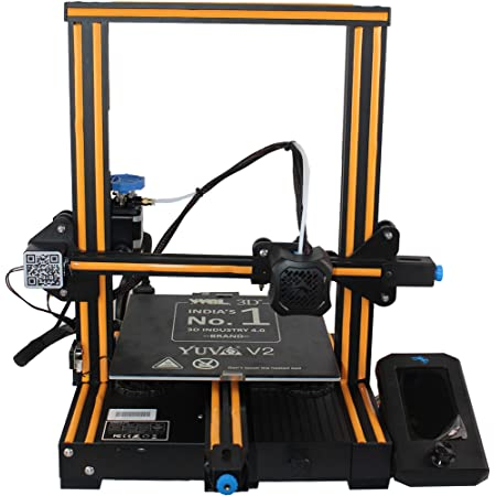 WOL 3D UPGRADED Creality Ender 3 V2 Model 2021 With Orange strip, Upgraded 3D Printer with Silent Motherboard (V 4.2.2) , Branded Power Supply, Tempered Carborundum Glass Plate and Resume Printing Function 220x220x250mm