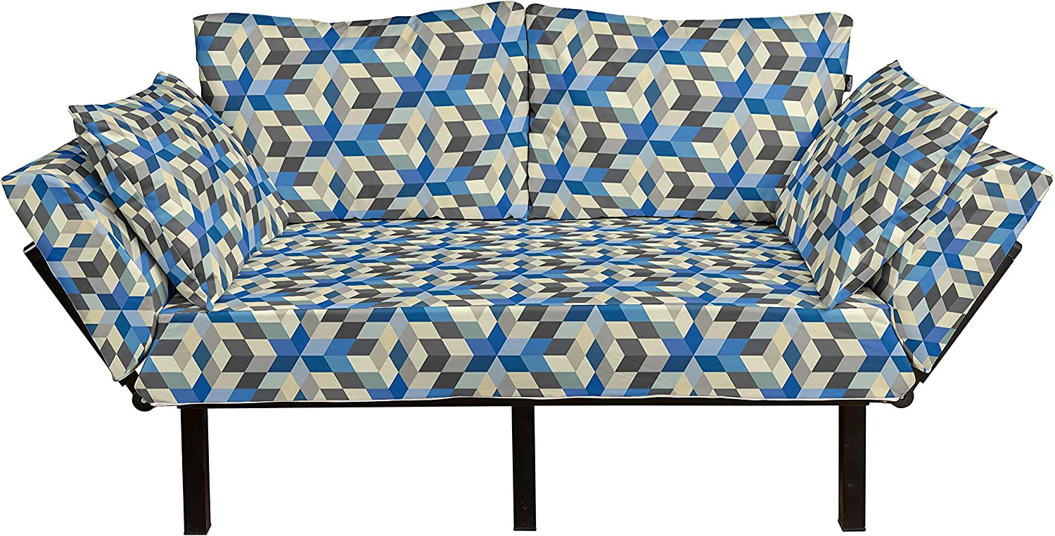 Las Vegas Mall Ambesonne Abstract Futon Couch 3 Max 48% OFF Design Cube Dimensional Geomet