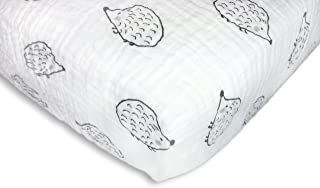 SwaddleDesigns Cotton Muslin Crib Sheet, Hedgehog, Black
