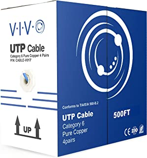 VIVO Blue 500ft Bulk Cat6, Full Copper Ethernet Cable, 23 AWG, UTP Pull Box, Cat-6 Wire, Indoor, Network Installations (CA...