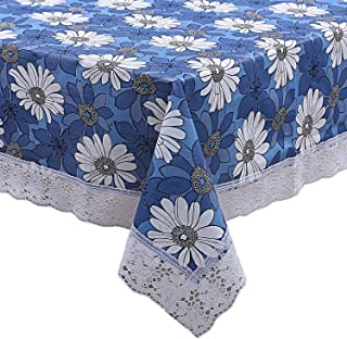 KUBER INDUSTRIES Flower Design PVC 6 Seater Dining Table Cover Blue, 60 X 90 Inches, CTKTC021836