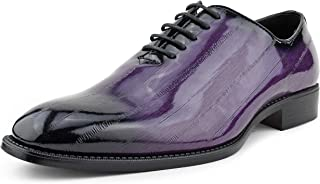 Bolano The Original Mens Exotic EEL Skin Print Oxford Lace-Up Dress Shoes Black Burnished Toe, Style Brayden